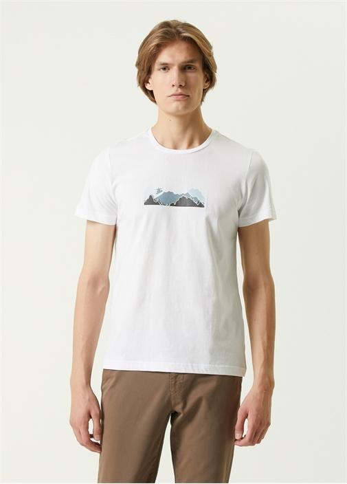 Beyaz Dağ Baskılı Kayıkçı Figürlü T-shirt