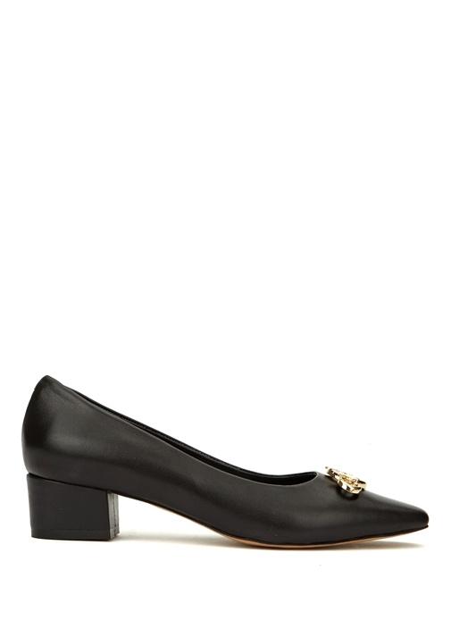 Siyah Logo Detaylı Deri Topuklu Ayakkabı