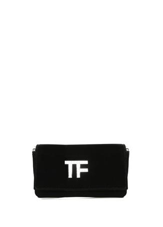 Tom Ford Kadın Siyah Taşlı Logolu Kadife Abiye Çanta EU