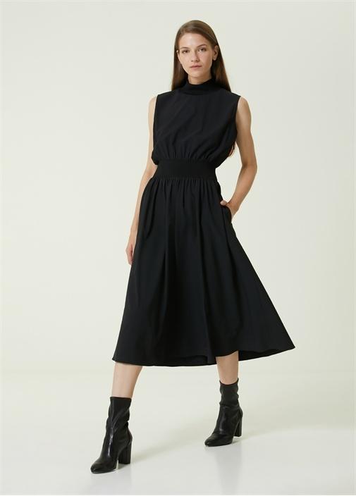 Siyah Dik Yaka Garnili Kolsuz Midi Elbise