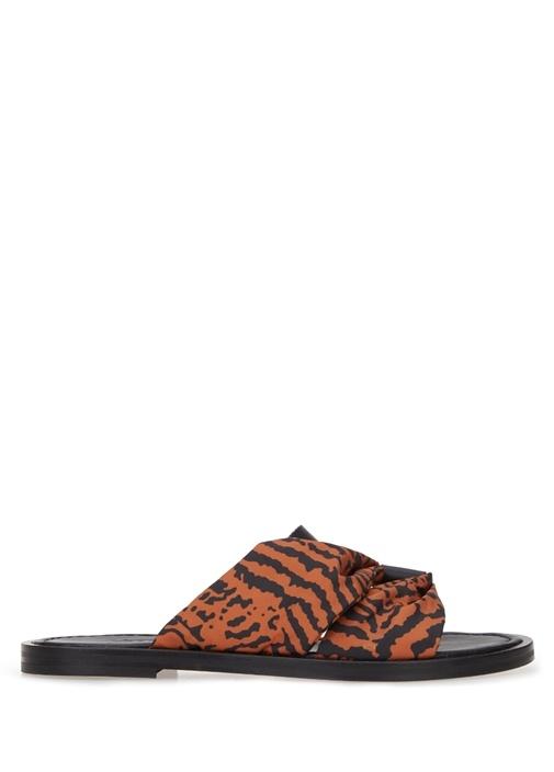 Siyah Kahverengi Zebra Desenli Kadın Deri Terlik
