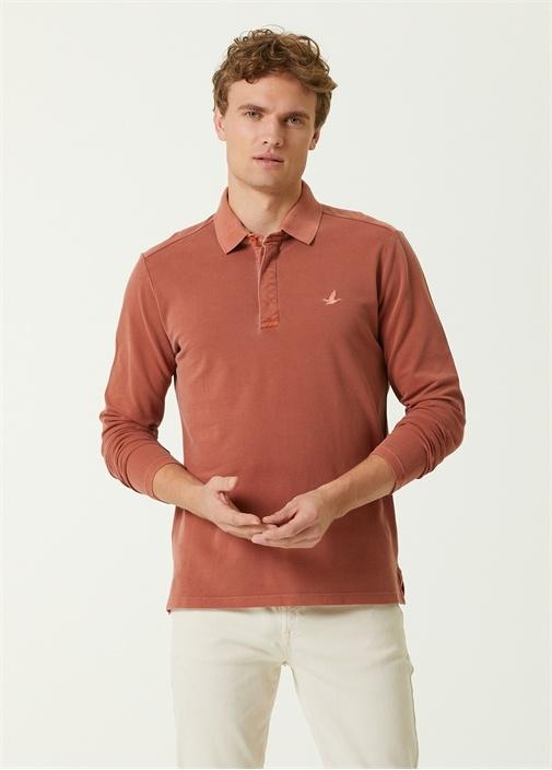 Comfort Fit Turuncu Polo Yaka Uzun Kol T-shirt