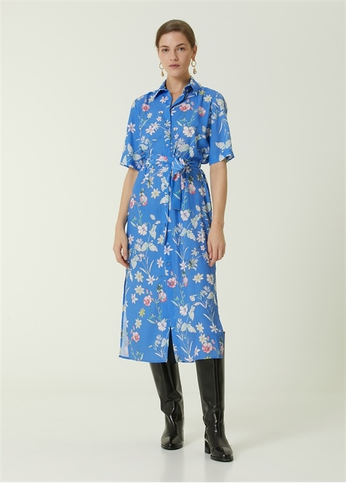 Mavi Çiçek Desenli Beli Kuşaklı Midi Gömlek Elbise