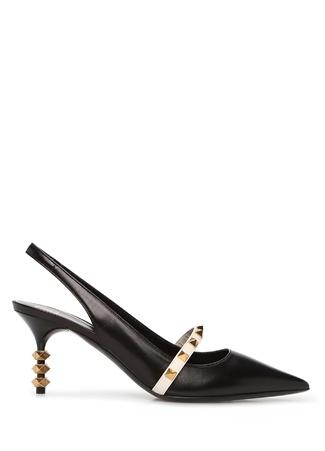 Valentino Garavani Kadın Rockstud Siyah Ekru Deri Topuklu Ayakkabı 36 EU