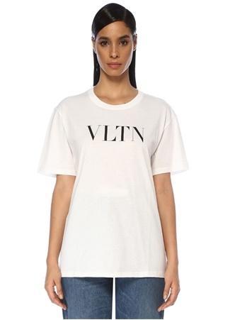 Valentino Kadın VLTN Beyaz Baskılı T-shirt S EU
