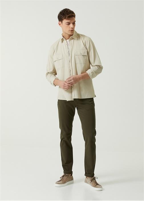 Slim Fit Haki Normal Bel Spor Pantolon