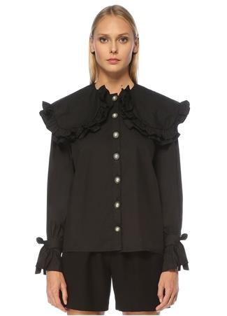 Sister Jane Kadın Siyah Fırfırlı İnci Düğmeli Uzun Kol Bluz XS EU