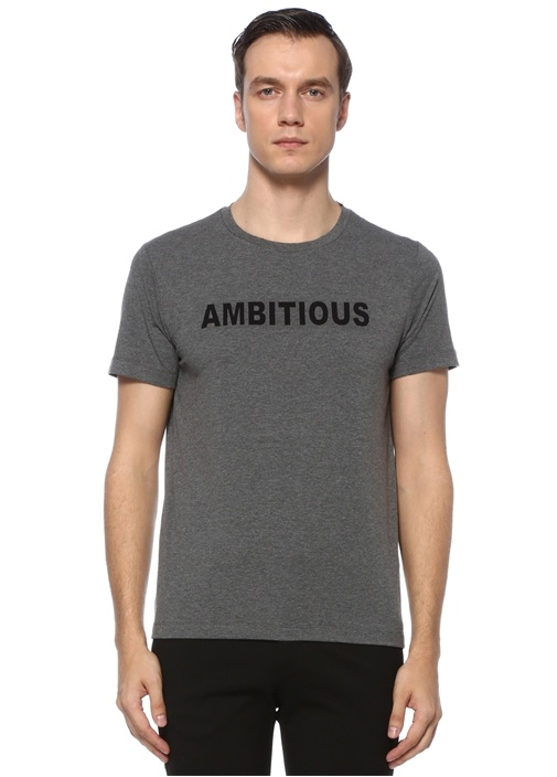 Antrasit Yazı Baskılı T-shirt