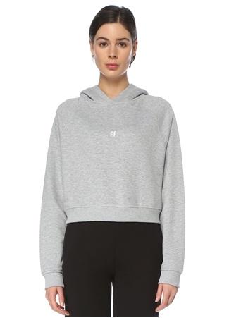 For Fun Kadın Gri Kapüşonlu Logolu Sweatshirt L EU