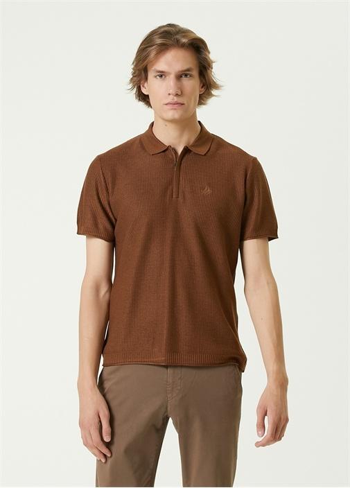 Tütün Polo Yaka Dokulu T-shirt
