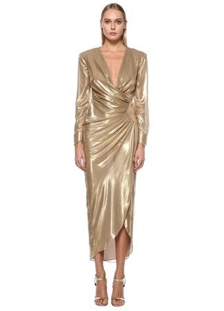 Museum of Fine Clothing Kadın Gold Derin V Yaka Drapeli Midi Abiye Elbise Altın Rengi 36 EU