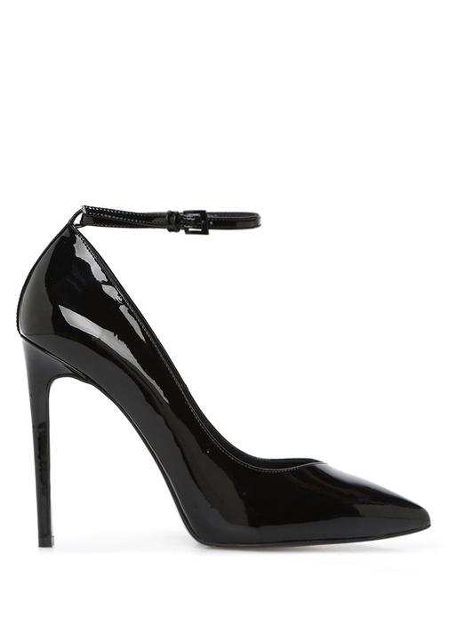 Siyah v Dekolteli Kadın Deri Ayakkabı