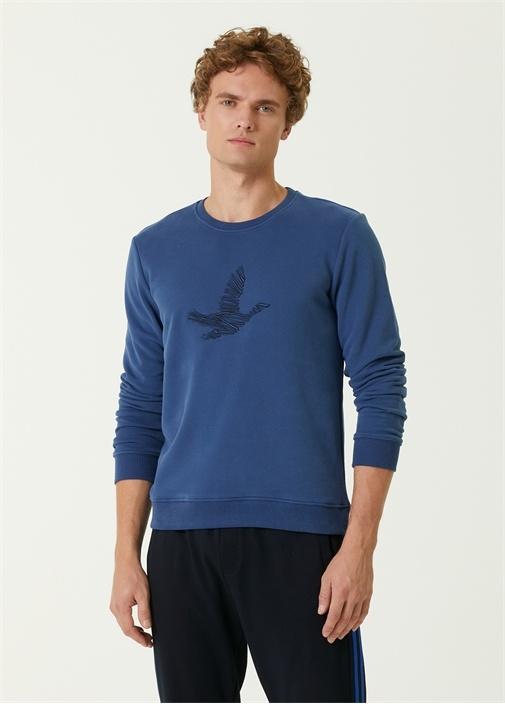 Mavi Karalama Kuş Nakışlı Sweatshirt