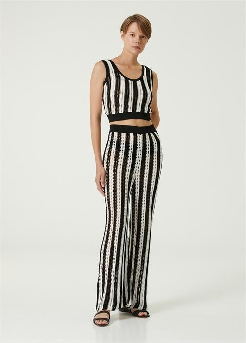Siyah Beyaz Çizgili Ajurlu Pantolon