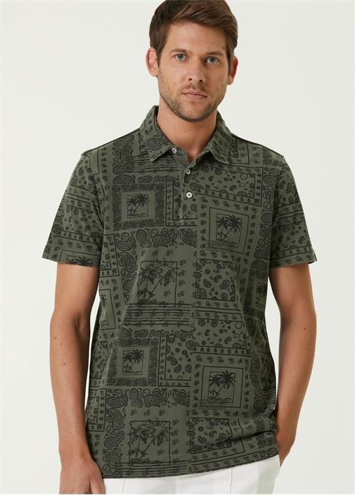 Comfort Fit Haki Polo Yaka Etnik Desenli T-shirt