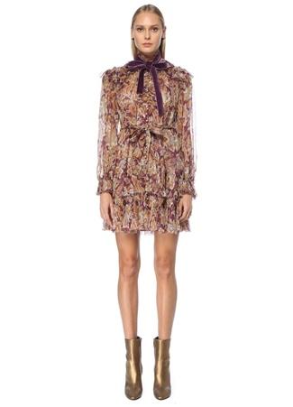Zimmermann Kadın Mor Şal Desenli Mini Tül İpek Kokteyl Elbise 0 US