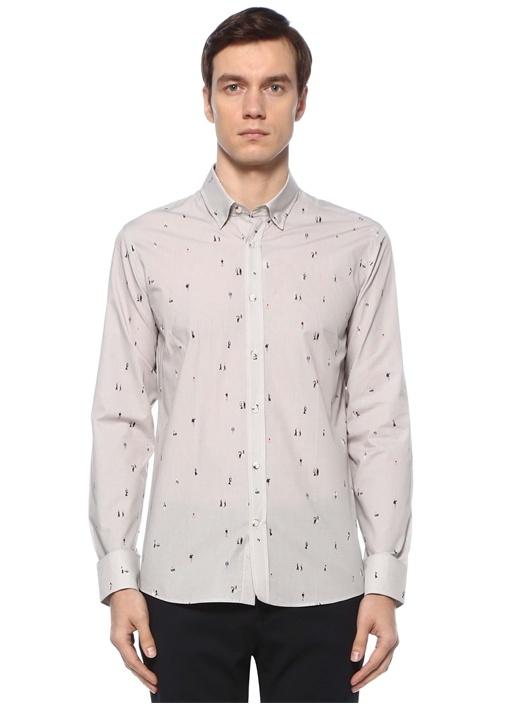 Slim Fit Gri Polo Yaka Minik Figür Baskılı Gömlek