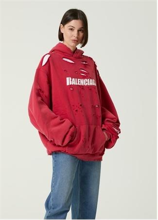Balenciaga Kadın Kırmızı Kapüşonlu Yıpratma Detaylı Sweatshirt S EU