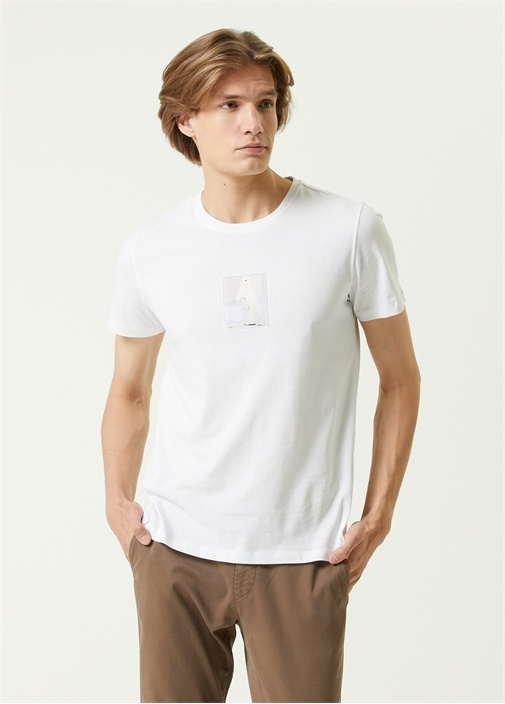 Beyaz Kutup Ayısı Aplikeli T-shirt
