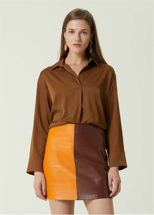 Kahverengi Gömlek Yaka Uzun Kol Bluz