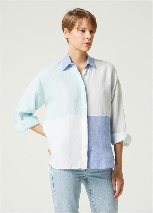 Colorblocked Kutu Formlu Keten Gömlek