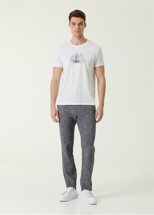 Beyaz Suluboya Yelken Baskılı Organik Pamuk Tshirt
