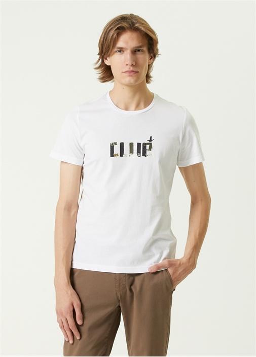 Beyaz Renkli Logo Baskılı T-shirt