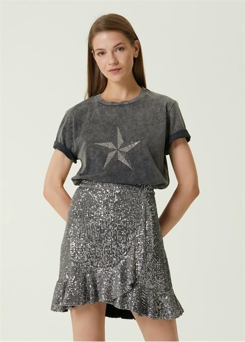 Antrasit Yıldız Taş Baskılı T-shirt