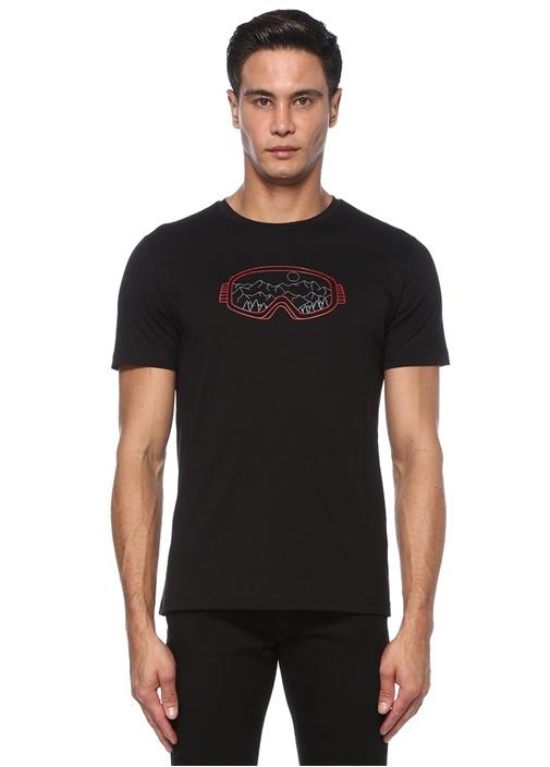 Siyah Kabartmalı Gözlük Baskılı T-shirt