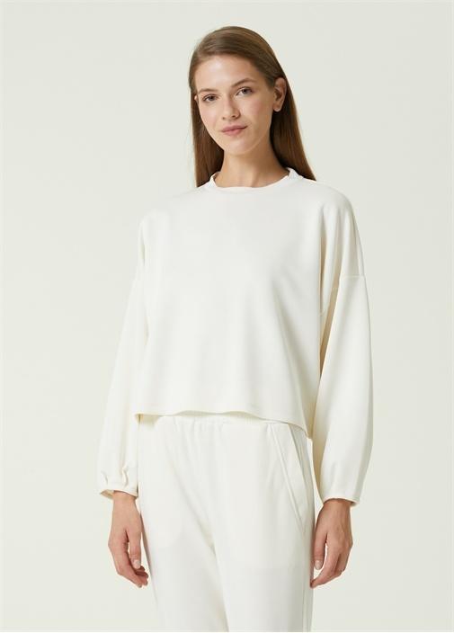 Kırık Beyaz Balon Kol Sweatshirt