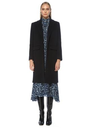Beymen Collection Kadın Lacivert Tek Düğmeli Yün Palto 34