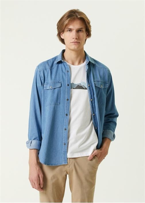 Comfort Fit Mavi Denim Gömlek