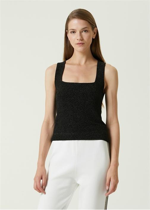 Siyah Kare Yaka Simli Askılı Bluz