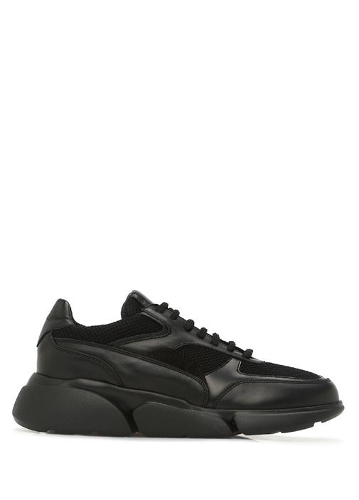 Siyah Logolu Garnili Kadın Deri Sneaker