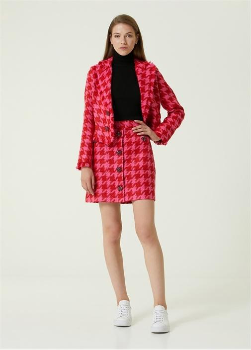 Pembe Kazayağı Desenli Mini Tweed Etek