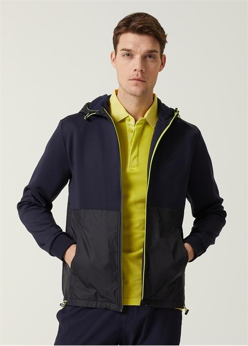 Lacivert Kapüşonlu Neon Şeritli Sweatshirt