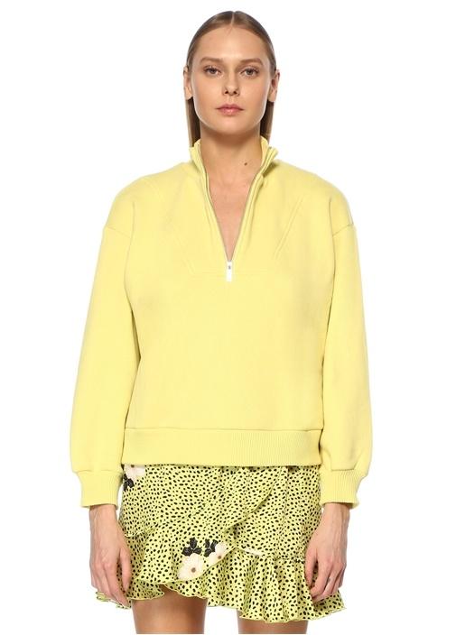 Sarı Dik Yaka Fermuarlı Balon Kol Sweatshirt