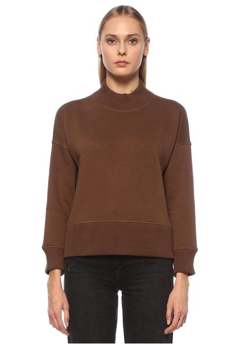 Kahverengi Dik Yaka Yanları Fermuarlı Sweatshirt