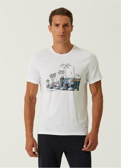 Beyaz Renkli Şehir Pano Baskılı Basic T-shirt