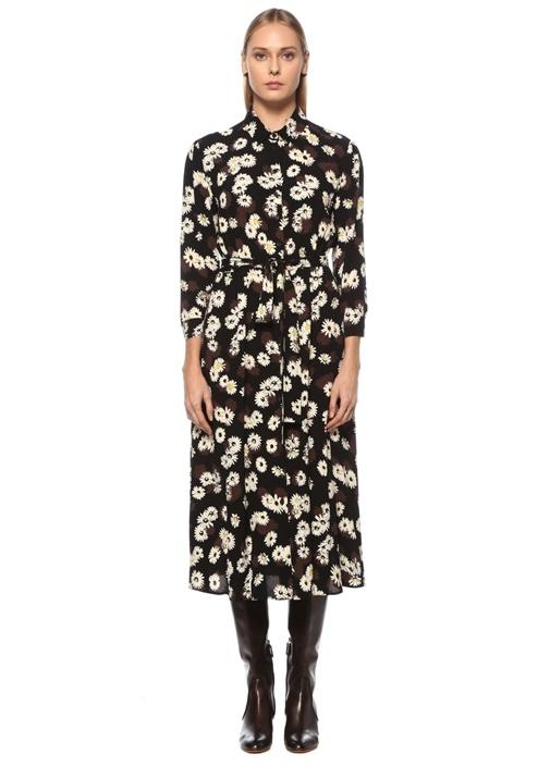 Siyah Beli Lastikli Papatya Desenli Midi Elbise