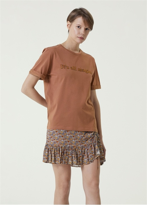 Camel Bisiklet Yaka Baskılı T-shirt