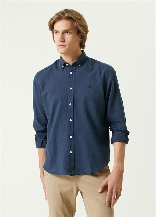 Comfort Fit Lacivert Düğmeli Yaka Oxford Gömlek