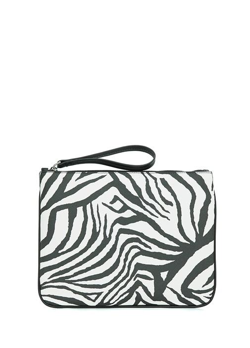 Zebra Desenli Logolu Kadın El Portföyü