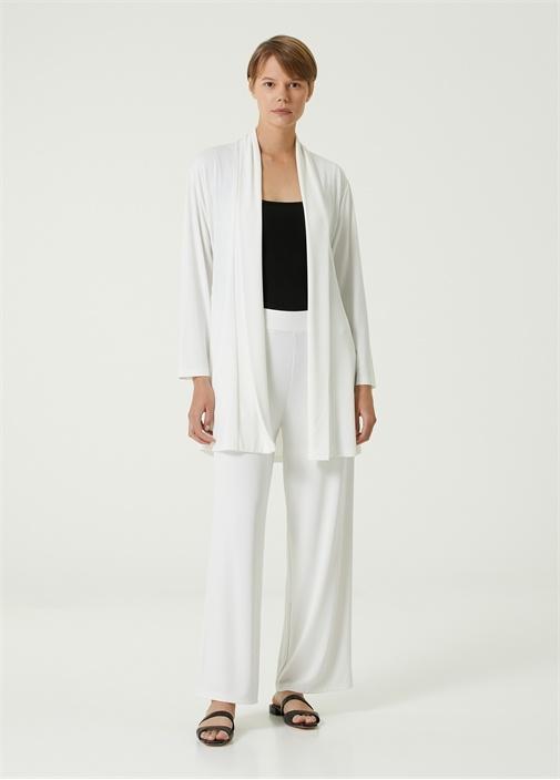 Beyaz Krep Jersey Pantolon