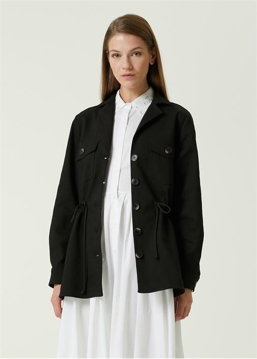 Siyah Beli Büzgülü Ceket