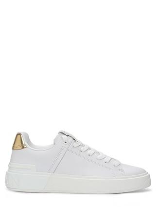 Balmain Kadın Beyaz Gold Logolu Deri Sneaker 36 EU