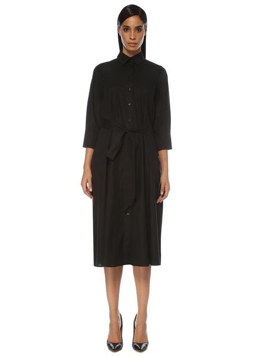 Siyah Kuşaklı Midi Gömlek Elbise