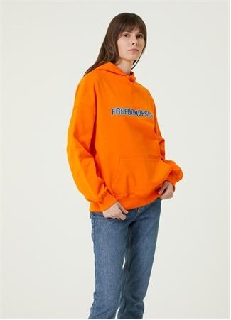Freedom of Space Kadın Turuncu Kapüşonlu Logolu Sweatshirt S EU