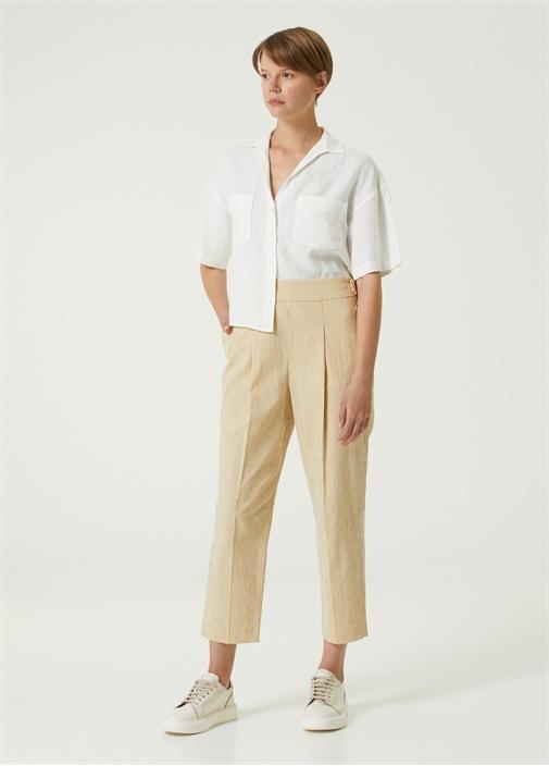 Hardal Çizgili Yanı Kemerli Pantolon