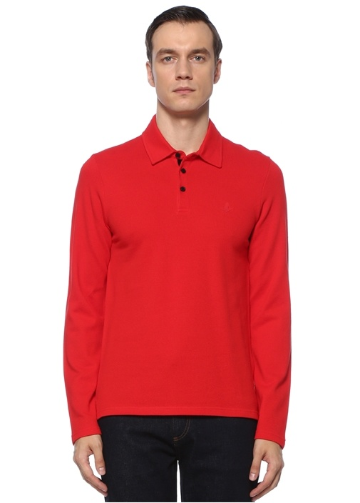 Slim Fit Kırmızı Uzun Kollu Polo Yaka T-shirt